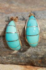 PREVIOUSLY OWNED 14K GOLD & CHANNEL SET TURQUOISE EARRINGS BY NAVAJO TIM BEDAH