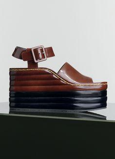 Sandale compensée Padded Wedge Multicouleur en Veau Spazzolato  Marron