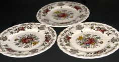 "5 Staffordshire Myotts BOUQUOT 6"" Bread and Butter Plates Lot England"
