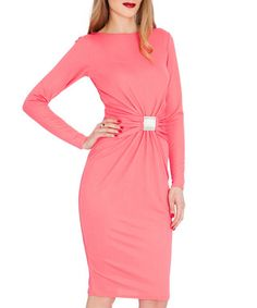 Coral buckle detail midi dress  Sale - Goddiva Sale