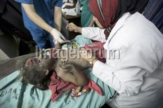 Wounded Palestinian girl being treated at the al-Shifa hospital today, after an Israeli air strike #GazaUnderAttack