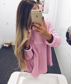 девушка, свитер, стиль, длинные волосы, розовый