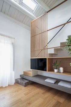 Stair Shelves, Tv Panel, Open Staircase, Interior Stairs, Palermo, Stairways, Rooftop, Boutique, Interior Design
