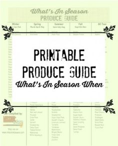 Wondering what fruits and vegetables are in season?  Check out my FREE Printable Produce Guide.