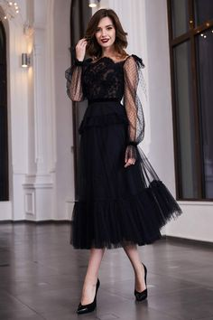 Cristallini - Embroidered Asymmetric A-Line Dress - Bal de Promo Dress Dior, Dress Up, Dress Lace, Fancy Dress, Elegant Dresses For Women, Beautiful Dresses, Simple Dresses, Elegant Dresses Classy, Elegant Styles