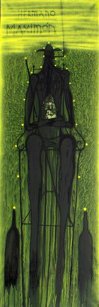 José Bedia Hermano Maximón, 2002 acrylic and collage on canvas 98 x 31 1/2 inches