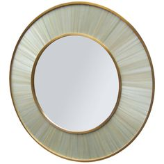 Modernist Round Mirror in Bronze and Straw Marquetry | From a unique collection of antique and modern wall mirrors at https://www.1stdibs.com/furniture/mirrors/wall-mirrors/