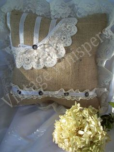 Shop for pillows on Etsy, the place to express your creativity through the buying and selling of handmade and vintage goods. Burlap Crafts, Burlap Decorations, Toss Pillows, Lace Pillows, Ring Pillow Wedding, Art N Craft, Textiles, Dream Decor, Soft Furnishings