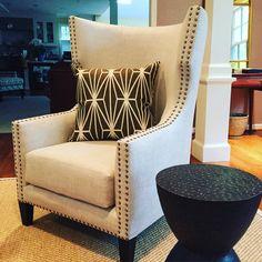 Ella Scott Design   Bethesda MD   Bernie chair by @noirfurniture in a #romofabric  #romo #noirfurniture #modern #moderndesign #interior #livingroom #modernlivingroom #bethesdadesigner