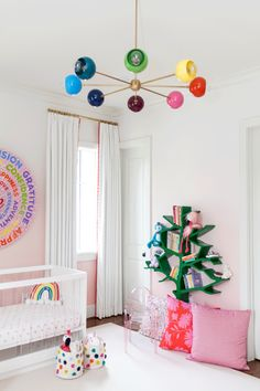 Baby girl nursery design with pink ombre walls and rainbow Accessories and lighting. Modern lucite crib and rocking chair give the design some edge. Nursery Modern, Nursery Neutral, Modern Nurseries, Nursery Design, Nursery Decor, Nursery Ideas, Bedroom Ideas, Bedroom Decor, Rainbow Nursery