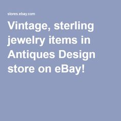 Vintage, sterling jewelry items in Antiques Design store on eBay!