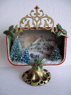 Altoid mint tin upcylcled recycled craft art project - christmas tin - christmas decoration - Art Journal - Altered Treasures - Assemblage Finds - Made by L. Christmas Shadow Boxes, Christmas Art, Christmas Projects, All Things Christmas, Vintage Christmas, Christmas Holidays, Christmas Ornaments, Altered Tins, Vintage Ornaments
