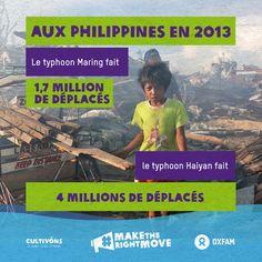 Aux Philippines, en 2013, le typhon Maring faisait plus de 1,7 million de déplacés. Le typhon Haiyan, la même année, faisait plus de 4 millions de déplacés.  http://bit.ly/107xWPh #maketherightmove #Haiyan
