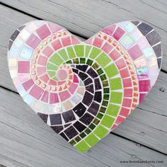 Babydoll Heart Pink and Purple Mosaic Heart Stepping Stone