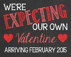 Valentineu0027s Day Themed Pregnancy Announcement // Valentine // Little  Valentine By PersonalizedChalk, $10.00