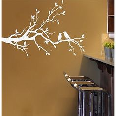 JiuBai™ Tree Branch And Lover Birds Wall Sticker Wall Decal – USD $ 24.99