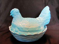 Blue Swirled Hen on Nest with split tail by VintageLoversShop