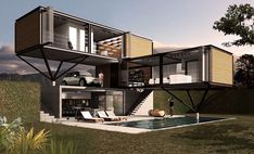 Container house is one of the brilliant breakthroughs in the field of architecture. Not only in terms of building a structure, but this type of house is also pocket-friendly and environmentally fri… Building A Container Home, Container Buildings, Container Architecture, Container House Plans, Storage Container Homes, Architecture Design, Shipping Container Home Designs, Shipping Containers, Shipping Container Interior