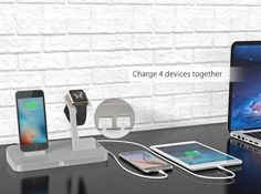 Apple Watch Charging Stand, Charging Station for iWatch, iPad and iPhone with 2 USB Ports, Apple MFi Certified Power Station in Aluminium Alloy, Silver Apple Watch Ipad, Apple Watch Charging Stand, Study Nook, Aluminium Alloy, Usb, Iphone, Chameleon, Kitchen Recipes, Giveaways
