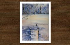 Original watercolor painting by JP Wisniewski Snow landscape, snow painting, painting of a frozen pond, hand made painting La Dombes, France Painting Snow, Watercolor Paintings, Frozen Pond, How To Make Paint, France, Etsy, Landscape, The Originals, Handmade