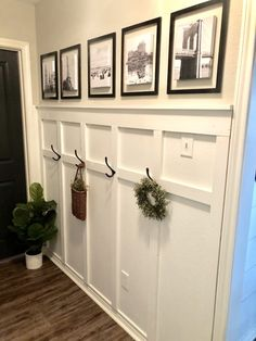 Don't you just love a great makeover? I teamed up with Nations Photo Lab to update this boring hallway and give it a little more character. Hallway Decorating, Entryway Decor, Foyer, Home Renovation, Home Remodeling, Board And Batten, Room Decor, Wall Decor, Diy Home Decor