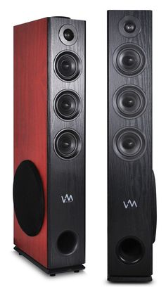 VM Audio EXAT30 Black/Cherry Floorstanding Powered Bluetooth Tower Speakers Pair #VMAudio