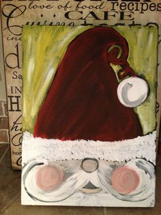 Hand painted Santa Claus canvas painting for 2014 Christmas - 2014 Christmas painting decorations. Christmas Canvas, Christmas Paintings, Christmas Art, Christmas Projects, Winter Christmas, Christmas Decorations, Christmas Fashion, Canvas Crafts, Diy Canvas