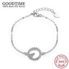 Bracelet 925 Sterling Silver Round CZ Micro Pave Pendant Charm Bracelet For Women Fashion Jewelry Link Chain Bracelets & Bangles #Affiliate