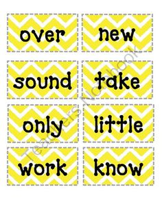 Frys Second 100 Word Wall Words- Yellow and Gray Chevron from Lifelong Learning and Fun on TeachersNotebook.com (13 pages)  - Yellow and gray chevron sight words!