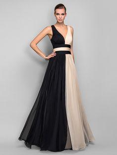 Vestido de Noche Largo para Mujer de Gasa en Corte A con Cuello en V | LightInTheBox