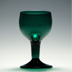 18th Century Green Hollow Stem Wine Glass c1750
