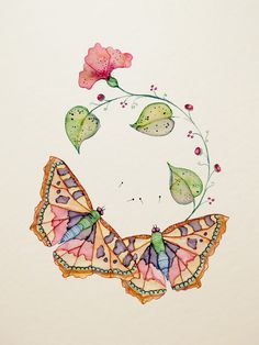 Wildlife Illustration by Colleen Parker Watercolor And Ink, Watercolor Flowers, Watercolor Paintings, Watercolors, Butterfly Illustration, Art Et Illustration, Butterfly Flowers, Art Sketchbook, Fabric Painting