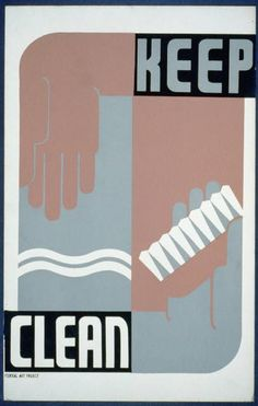 Keep Clean - Poster from Federal Art Project at Library of Congress. Potential engineering print for powder room.