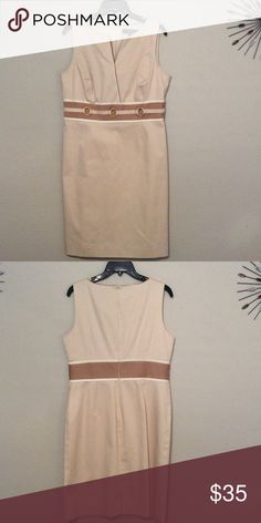 Beautiful beige dress Short sleeve with bamboo rings on bodice belt. Alex Marie Dresses