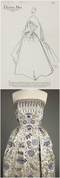 """A dress fit for a queen: """"Palmyre,"""" designed by Christian Dior, 1952, from the Palais Galliera's collection. Worn by Wallis, Duchess of Windsor. Photos via http://www.vogue.co.uk/news/2013/02/28/swarovski-paris-haute-couture-exhibition---paris-fashion-week-dior-ysl-lanvin/gallery/944500. CLICK THROUGH FOR VERY LARGE, HI-RES IMAGES."""