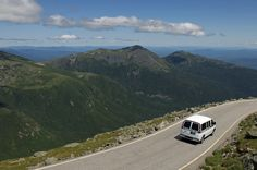 The road to the top of Mount Washington,,,steep on one side all the way, a real thrill http://mtwashingtonautoroad.com/