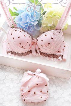 polka dot pink lingerie.