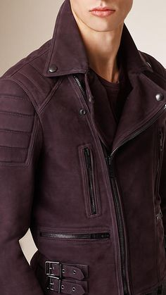 Burberry brit- Dark blackcurrant Nubuck Biker Jacket.