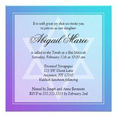 Teal Purple Star of David Bat Mitzvah Square Custom Invites $1.95 on Zazzle