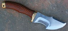 """WSK hunter/bushcrafter blade of 4.55"""" forged in 0.75 carbon steel with selective temper , brass guard and pommel , rat tang , brown micarta toxified available www.aufildelalame.fr"""