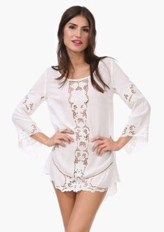 e26d6b713e SUCH a beautiful cover up- affordable and made in the USA! Spotted on Haya  · FemininWhite Mini DressKnit ...