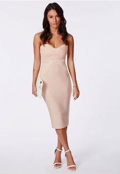 Evelyn Panelled Bandeau Bodycon Midi Dress Nude - Dresses - Bodycon Dresses - Missguided
