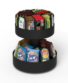 Provide everyone in your office with tasty treats organized within the Mind Reader Supreme 2 Tiered Lazy Suzan Breakroom Snack Organizer . This two-tier. Snack Bar, Snack Station, Office Snacks, Dorm Room Snacks, Home Office Organization, Organization Ideas, Organizing Tips, Organising, Decorating Kitchen