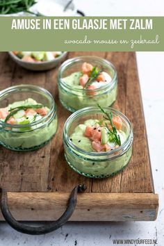 Avocado Mousse, Good Food, Yummy Food, Fresh Rolls, Cucumber, Tapas, Healthy Snacks, Starters, Appetizers