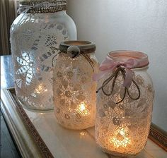 Delicate Doily Mason Jar Luminaries | Light up the night with this sweet and simple mason jar craft.