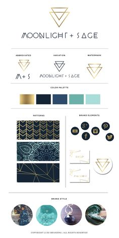 BRAND LAUNCH: Moonlight + Sage.  Jewelry company branding.  Crystal company branding.  Tribal inspired branding.  Gold and blue branding.