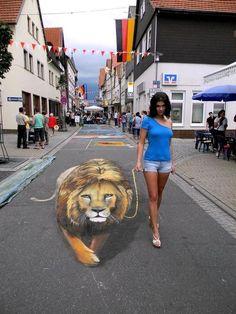 Sidewalk art...an amazing illusion.