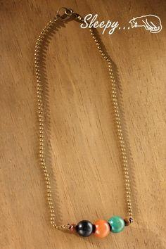 Necklace ウッドビーズ ボールチェーンネックレス ハンドメイド インテリア 雑貨 Handmade ¥650yen 〆11月12日