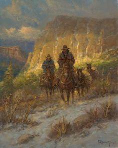 Harvey - Soft Canyon Light - Paper and Canvas Art . Cowgirl And Horse, Cowboy Art, Western Cowboy, Western Decor, G Harvey, Art Of Noise, Lights Artist, Sunflower Wallpaper, West Art