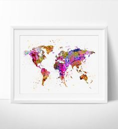 Abstract Painting, Abstract Art, Abstract Watercolor, World Map Art, World Map Print, Abstract Map, Acrylic Watercolor Multi Painting (185)